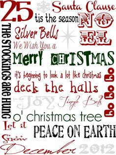 December Subway Art - Free Christmas Printable