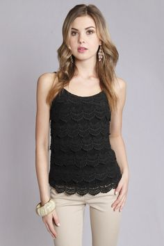 Niva Scalloped Crochet Lace Cami in Black