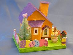 easter glitter houses | Putz Orange Easter House by WinterVillageCrafts on Etsy