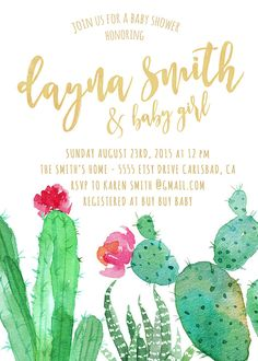 Celebrate the boho mommy-to-be with this beautiful watercolor cactus invitation! Featuring watercolor cacti and hot pink flowers, this invite