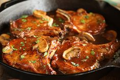 Skillet Chops with French Onion Gravy with sliced mushrooms on top Onion Gravy, Onion Soup Mix, Stuffed Mushrooms, Center Cut Pork Chops, Food Safety Standards, How To Cook Pork, Soup Mixes, Cast Iron Cooking