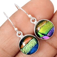 Dichroic Glass 925 Sterling Silver Earrings Jewelry EE11063 | eBay