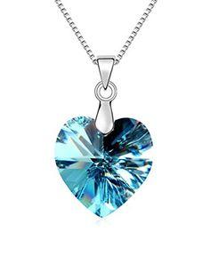 """Romantic Heart Austrian Crystal Elements Pendant Necklace Blue,17.7"""" *** Visit the image link more details."""