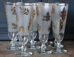 Vintage Gold Leaf, Frosted, Pilsner Glasses, Set of 9, Home Decor, Tableware, Serving, Wedding, Hostess, Gift, Collectible
