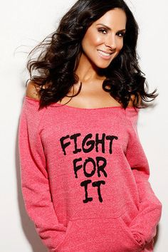 Fight For It.  Off-the-Shoulder Girly Sweatshirt Size LARGE. $38.00, via Etsy.