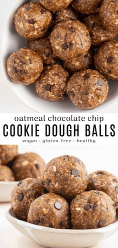 Oatmeal cookie dough balls are chewy, sweet, and so easy to make! Each bite-sized ball tastes exactly like peanut butter oatmeal edible coo. Vegan Dessert Recipes, Cooking Recipes, Dinner Recipes, Top Recipes, Health Recipes, Vegan Sweets, Kitchen Recipes, Cocktail Recipes, Free Recipes