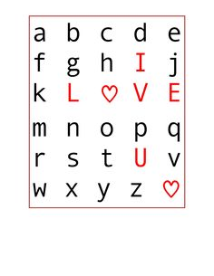 Valentines Word search - I LOVE YOU !