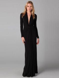 Sheath / Column V-neck  Ruffles  Long Sleeves Floor-length ChiffonLittle  Dresses (SZ0243961 )