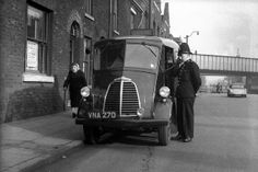 On Oldham Road, Manchester, in the This photograph of an officer of Manchester City Police and his Morris J -Type van. Uk History, London History, British History, Modern History, History Facts, Manchester Police, London Manchester, Manchester England, Old Pictures