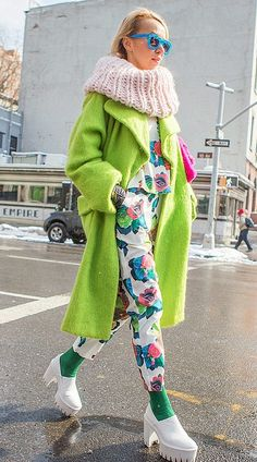 NYFW street style: green coat and floral two piece