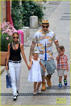 Nicole Richie and Joel Madden take the kids shopping in France on July 22, 2013