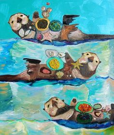 Sea Otters with Starfish in Gold and Green Waves -  by Eli Halpin