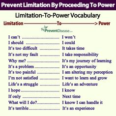 Prevent limitation by proceeding to power. Psychology