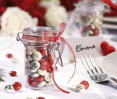 Personalise your kg of M&M's, then fill and customise your 24 fill-yourself pts with delicious chocolate for original wedding favours Customized Gifts, Personalized Gifts, M&s Chocolates, Wedding Jars, Do It Yourself Wedding, Wedding Decorations, Table Decorations, Mason Jars, Favors