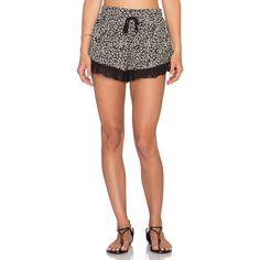 Band of Gypsies Ruffle Bottom Short Shorts (340 ZAR) ❤ liked on Polyvore featuring shorts, frilly shorts, short hot pants, hot short shorts, elastic waist shorts and lace-trim shorts