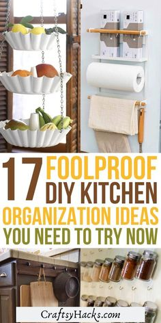 17 Brilliant DIY Kitchen Organization Ideas Try these DIY kitchen organizers and have your kitchen in order. These simple kitchen organization tips will help you to organize cabinets, drawers and much more. Kitchen Storage Hacks, Small Kitchen Organization, Organization Ideas, Kitchen Organizers, Storage Ideas, Organizing Solutions, Organizing Tips, Cleaning Hacks, Layout Design