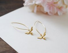 Gold Bee Earrings. Gold Plated Brass Bee Long by KiraKiraDesign