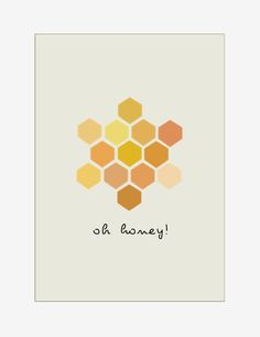 Art Print : Oh honey -  Geometric Modern - - home decor. $15.00, via Etsy.