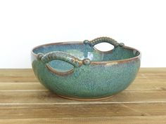 Sea Mist Stoneware Pottery Ceramic Serving Bowl by dorothydomingo