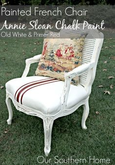 Painted French leather chair with Annie Sloan Chalk Paints in Primer Red and Old White by Our Southern Home