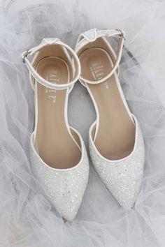d96068dc63 WHITE Rock Glitter Ankle Strap Flats. Women Wedding Shoes ...