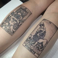 Thank you SO much @vodevilx for letting me do both of these tarot cards, you sat like an absolute trooper. They look slightly warped in this photo because of the angle. So fun!! ✨ #tarotcards #tarottattoo #tarotcardtattoo #tattoos #tattooapprentice #etching #woodcut #dotwork #stippling #dotworktattoo #linework #blackworkers @blxckink #BLXCKINK @blacktattooart #blacktattooart @blacktattoomag #BLACKTATTOOMAG @equilattera #equilattera
