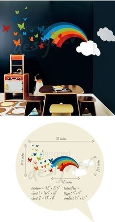 Rainbow Butterflies Giant Wall Decal - Wall Sticker, Mural, & Decal Designs at Wall Sticker Outlet Girls Bedroom, Bedroom Ideas, Childrens Bedroom, Rainbow Bedroom, Murals For Kids, Wall Decals For Bedroom, Daughters Room, Big Girl Rooms, Kids Room Design