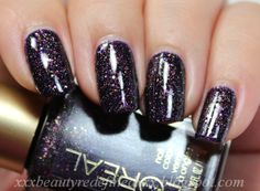 """L'Oréal Paris Colour Riche 'Gold Dust' Collection (2014) in 'Sexy in Sequins' (137)  WITH TOPCOAT ……………. """"Dark purple with gold and fuchsia shimmer and purple glitter""""…………….. (Photo Courtesy of xxxbeautyredefinedxxx.blogspot.com)"""