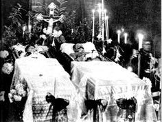 H.I.R.H. Archduke Franz Ferdinand of Austria-Este and H.S.H. Duchess Sophie of Hohenberg (1914) - lying in state after their assassination.