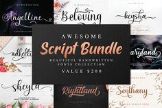 Awesome Script Bundle #fontbundle #moderncalligraphy #scriptfontbundle #bigbundle #megabundle #weddingfont #logos #calligraphy