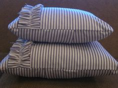 Blue and white ticking pillow cover with ruffle 12x16 by raggygirl, $20.00