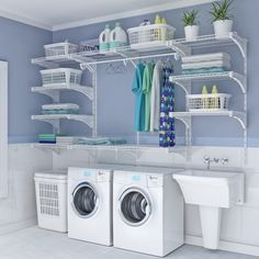 small laundry room organization ideas Double the Function - Room Design Laundry Room Shelves, Basement Laundry, Laundry Closet, Small Laundry Rooms, Laundry Room Organization, Laundry Room Design, Basement Storage, Bathroom Closet, Storage Room