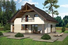"""""""Optymalny"""" Murator M133 - doskonały dom z poddaszem użytkowym dla cztero- lub pięcioosobowej rodziny Merlin Home, Cute Small Houses, Design Case, Gazebo, Diy And Crafts, Sweet Home, Shed, New Homes, Exterior"""