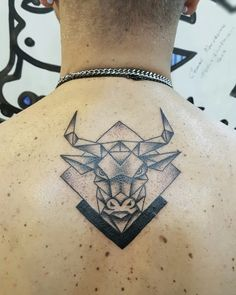 Bull tattoo art design geometric dotwork back tattoo
