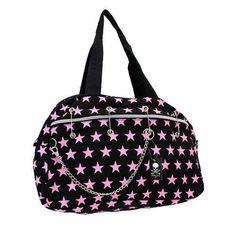 Black with Pink Stars Large Purse Shoulder Bag