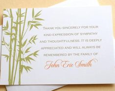 Jewish Sympathy Thank You Cards  Fine Stationery  Custom  Flat