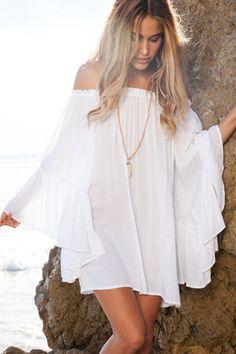 White Exquisite Chiffon Her Mini Dress  ❤ 'Add this one to your wishlist!' #beachwear #beachfashion