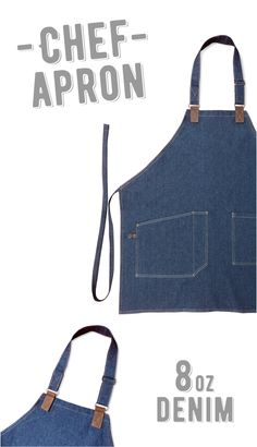 Chef Denim Leather apron. Look clean and modern. Made in USA.