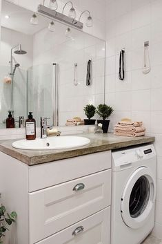 29 Small Laundry Room Remodeling and Storage Ideas (Practical) Laundry Room Remodel, Laundry Room Bathroom, Small Laundry Rooms, Laundry Room Design, Bathroom Renos, Bathroom Layout, Bathroom Furniture, Bathroom Interior, Modern Bathroom