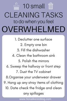 cleaning tips when you've got too much to cope with. Depression and daily tasks, how can I tidy quickly?