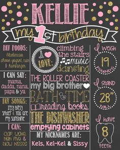 Pink and Gold Glitter First Birthday Chalkboard Poster // Girl 1st Birthday Chalk Board // Custom Printable // Boy or Girl // Polka Dots