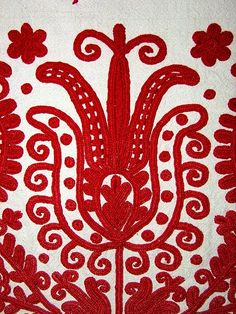 Hungarian Embroidery Stitch Embroidery from Kalotaszeg - Transylvania - Hungarian Embroidery, Folk Embroidery, Learn Embroidery, Polish Embroidery, Chain Stitch Embroidery, Embroidery Stitches, Embroidery Patterns, Textiles, Stitch Head