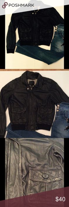 Distressed leather jacket Awesome bomber jacket in genuine leather. Fully lined with front pockets. It has that worn-in look, as seen on trims. Still in great condition, it just looks distressed. J. Crew Collection Jackets & Coats