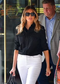 Melania has 'no interest' in being first lady again and helping Trump with his 'political ambitions' | Daily Mail Online Melania Trump, White Jeans, Pants, Fashion, Conservative Style, Black And White, Branded Bags, Staple Pieces, White Skinnies
