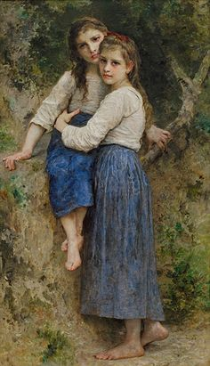 William A Bouguereau - Dans les bois (In the Woods) 1905 at the Frye Art Museum William Adolphe Bouguereau, Human Painting, Painting Of Girl, Figure Painting, Old Paintings, Paintings I Love, Portrait Paintings, Portraits, Pre Raphaelite Paintings