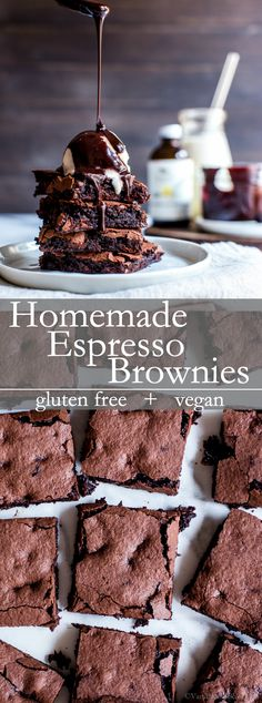 a chocolate truffle in brownie form, Homemade Espresso Brownies – gluten . - Food and Drink -Like a chocolate truffle in brownie form, Homemade Espresso Brownies – gluten . - Food and Drink - Dessert Sans Gluten, Vegan Dessert Recipes, Brownie Recipes, Simple Dessert Recipes, Vegan Recipes Simple, Vegan Baking Recipes, Healthy Vegan Desserts, Dessert Simple, Easy Desserts