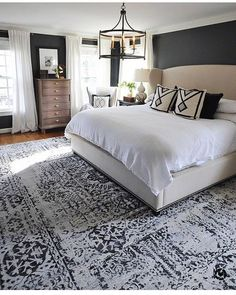 We finally found a large rug that worked in our master bedroom and are loving it! It's from and I love the… bedroom decor 40 Dreamy Master Bedroom Ideas and Designs — RenoGuide - Australian Renovation Ideas and Inspiration Master Bedroom Design, Dream Bedroom, Home Bedroom, Bedroom Furniture, Master Suite, Bedroom Designs, Bedroom Rugs, Dark Master Bedroom, Girls Bedroom