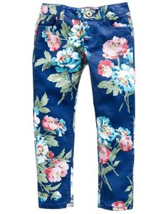 Joules Girls Printed Jeans, Dusky Blue Floral.                     In fine cotton adorned with a standout print, these Pants are perfect to liven up any look. Perfect to be paired with whatever tickles her fancy.