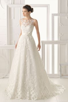 aire barcelona 2014 bridal oest sleeveless wedding dress illusion neckline