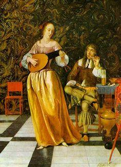 Quite big sleeves w/ ties. ALady DUTCH Eglon Hendrik van de Neer Young Woman Playing the Lute, 1660s - Pinterest